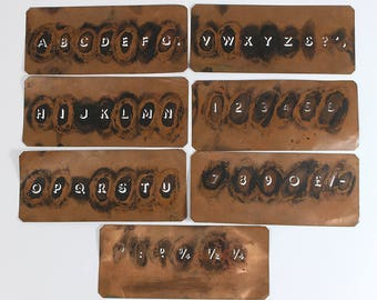 Vintage Copper Ink Stencil Art Deco Alphabet Letters Numbers Symbols Fractions Set of 7 1920's 1930's