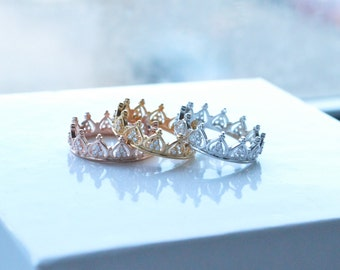 Princess Crown Ring - Tiara Ring - Stackable Ring - Knuckle Stack Slim - Rose Gold Ring - Sterling Silver Ring - Valentine's Day