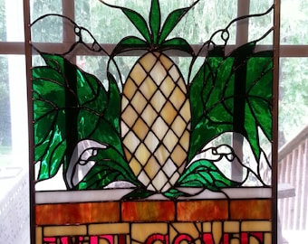 Stained glass Welcome Pineapple Panel