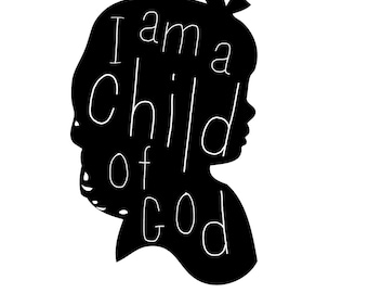 I am a child of God printable download in black and white, pink, blue  LDS YW subway art, mormon prints, silhouette, child's room, nursery