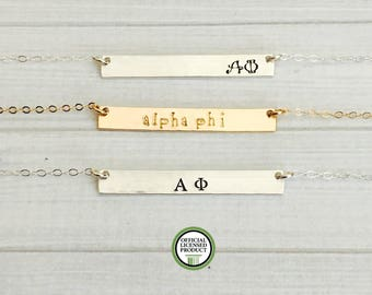 ALPHA PHI Necklace - Alpha Phi Jewelry - Sorority Bar Necklace - Sorority Jewelry - Sorority Necklace - Big Sis Little Sis Gift