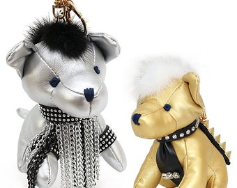 Fur Trimmed Doggy Keychain Bag Charm