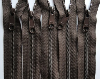 Five Autumn Brown 22 Inch 4.5 Ykk Purse Zippers with a Long Handbag Pull Color 141