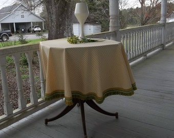 Mid Century Tablecloth with Fringe Vintage Round Gold Plaid Tablecloth RV Decor Camper Decor Retro Tablecloth