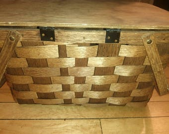 Vintage 1950 Putney Basketville Vermont Wooden Woven Hickory Splint Double Handles Picnic Basket
