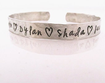 Personalized Gift for Mom - Cuff Bracelet -  hand stamped sterling silver cuff  - Mother's Bracelet - Mother Gift - Gift for Grandma
