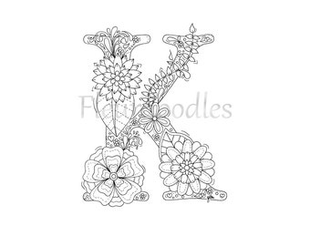 Adult coloring page floral letters alphabet c hand adult coloring page floral letters alphabet k hand lettering printable anti stress coloring book zentangle zen coloring download spiritdancerdesigns Image collections
