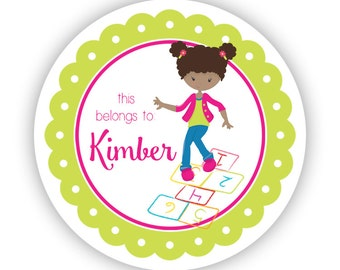 Personalized Name Tag Stickers - Lime Hot Pink, Hop Scotch Playground Recess Name Label Stickers - Back to School - This Belongs To Labels