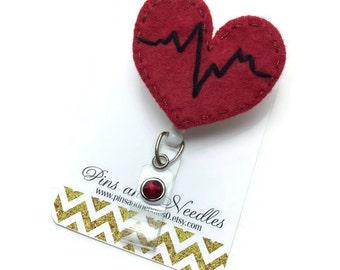 Cardiologist Id Badge Reel - Retractable Badge Reel - Badge Holder - EKG Id Badge Reel - Doctor Gifts - Red EKG Heart ID Badge Reel