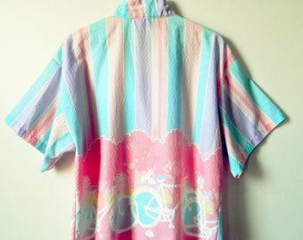 Pastel Kawaii Vintage Bicycle Blouse / 80s Oversized Pastel Button Down / Rad Pastel Striped Shirt