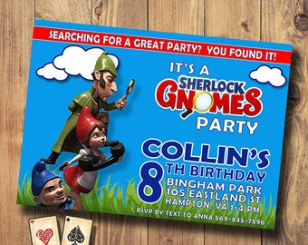 Sherlock Gnomes, Shelock Gnomes Party, Gnomeo and Juliet, Birthday Party Invitations, Printable Gnomes Invitations, Digital, Download