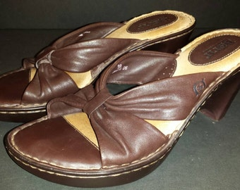 Börn Brown Leather Sandals Knot Strap Heel Size 8 39