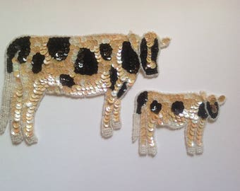 Sequin cow appliques / Jersey cows / black and white cow and calf sew on patches / vintage 1980s crafts, sewing, notions