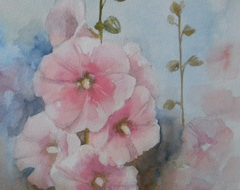 Pink Hollyhocks