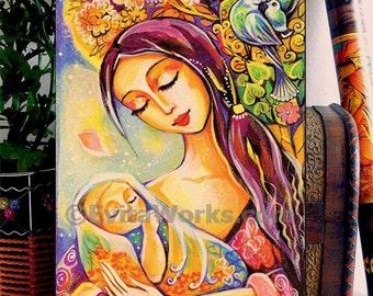 Mother and baby painting, tree of life, nursery art, folk art, maternity, newborn baby, home decor wall decor woman art, ACEO wood block, CG