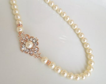 Rose Gold Pearl Necklace, crystal necklace, Pearl Bridal Necklace, vintage style pearl Necklace, Bridal Statement pearl Necklace, CLAUDE