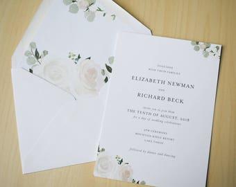 Elegant Blush Floral Wedding Invitation Sample / Letterpress or Digital Printing / Simple Elegant Garden Wedding / #1136