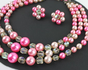 Pink 50s Vintage Beaded Necklace and Clip On Earring Set