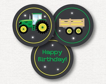 INSYANT DOWNLOAD, Tractor Cupcake Toppers, Tractor Birthday,, Farmer Stickers,printable