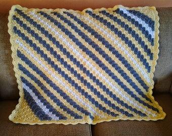 Handmade Diagonal Striped Afghan / Diagonal Striped Blanket / Diagonal Striped Throw