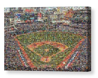 Unique, Large Cleveland Indians Mosaic Art Print of Progressive Field from Past and Present Star Player Trading Cards.