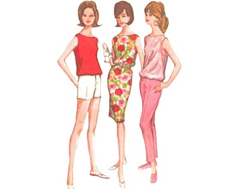 1960s Dress with Short Shorts, Slim Pants and Blouson Top Size 18 Bust 38 Vintage McCalls Vintage Sewing Pattern 7219 Chemise Sheath Shift
