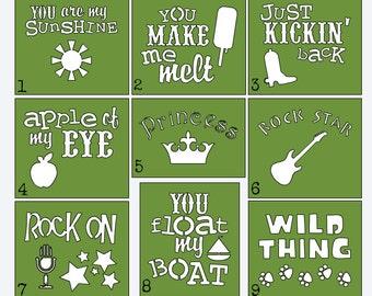 Funny Phrases Stencils - Onesie Decorating Kit - Onesie Painting - Stencils for Painting