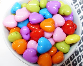 50x 15mm Heart Shaped Beads in Multicolours