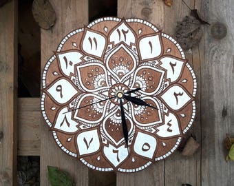 Mandala clock (9.45 inch and 16 inch) - arabic style (wooden) - different colors, boho clock, etnic clock, wall clock moroccan modern unique