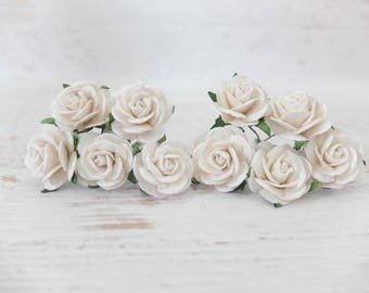 """10 25mm white mulberry paper roses - 1"""" paper flowers"""
