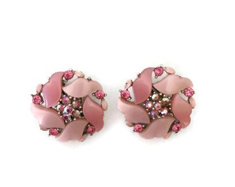 Vintage PINK Thermoset Earrings Clip On Flower Cluster Swirls AB Rhinestones 1950s 1960s Pastel
