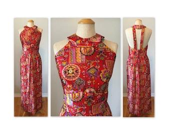 Vintage 70s Maxi Halter Dress NOS S M Novelty Print Lounger