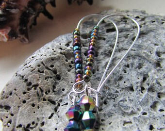 Purple petrol earrings , Iridescent beaded kidney wire earrings , Silver plated kidney wire earrings , Kidney wire earrings , Gifts for her