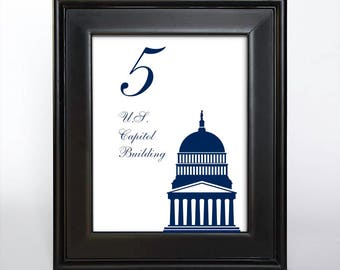 Printable Washington DC Table Number Wedding Decor Reception Sign Cards Landmark Icons 4x6 5x7 or 8x10 Choose Font, Color and Landmarks