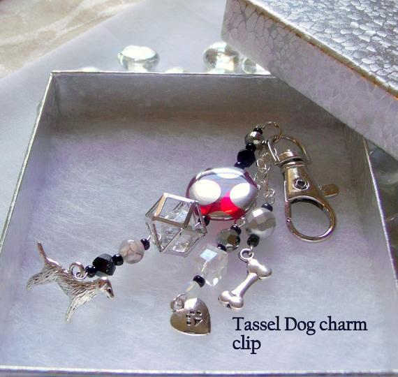 Tassel dog charm zipper pull - I love my dog - red dot bead charm - crystal cage  key clip  - heart paw print charm - custom dog gift