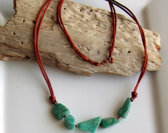 Amazonite Teal Long Necklace, Polished Russian Amazonite Nugget Focal, Stone and Satin Necklace, WillOaks Studio Handmade Original Pendant