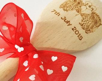 Wedding/anniversary personalised cooking utensil wooden spoon love spoon mr & mrs engraved spoon owl spoon