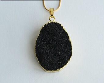 La Dame Blanche - Black Druzy Quartz Pendant - Claire Fraser's Poison Detector Necklace - Sassenach Jewelry - Outlander inspired