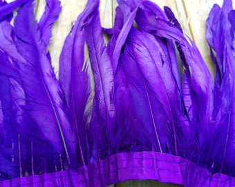 Rooster Feather Trim -PURPLE 30CM