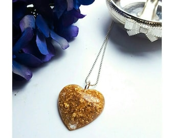Gold leaf and resin heart pendant and necklace