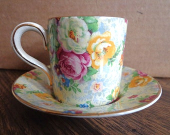 Rose Time Demitasse Cup and Saucer, Lord Nelson Ware Chintz, Made in England  FS