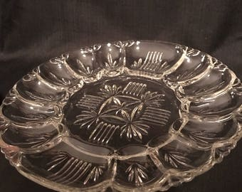 Vintage Egg Plate Clear Glass  Cut Glass Relish Tray