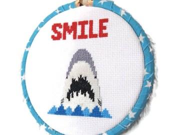 Shark Cross Stitch-Jaws Inspired-Ready to Hang-Original Pattern-Fan Art-Shark Week-Great White-Shark Lover Gift-Home Decor-Gift for Teens