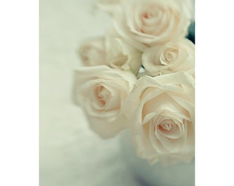 White Rose Art, Rose Photograph, Rose Still Life Photography, Floral Art Print, Shabby Chic Decor. Bedroom Art