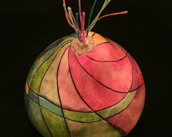 Handcrafted Container Gourd, Original Artist Design; Rainbow colors