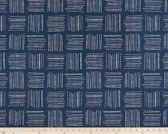 Italian Denim Blue in Brave Print. Blue and white Premier Prints.   Slub canvass Fabric by yard. Medium decor fabric.