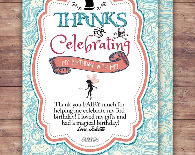 Pirate and Princess Party, thank you card, Pirate and Princess Birthday Invitation, Princess and Pirate invitation ,Twins birthday, pixie