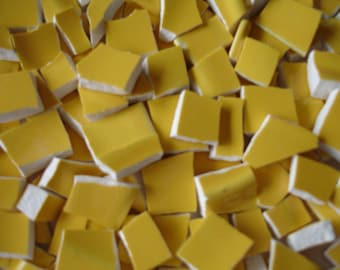 Supplies -  Mosaic Pieces  - 100 - Mustard Yellow  Pieces - Yellow Mustard- Vintage Broken Plate Tessera