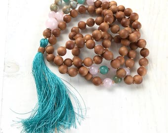 African Opal Mala Beads, Sandalwood 108 Bead Mala, Hand Knotted Mala Necklace, Silk Tassel Mala For Meditation, Yoga Mantra Mala
