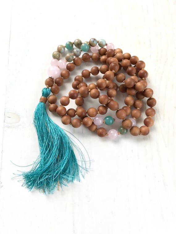 African Opal Mala Beads, Sandalwood 108 Bead Mala, Hand Knotted Mala Necklace, Silk Tassel Mala For Meditation, Yoga Mantra Mala